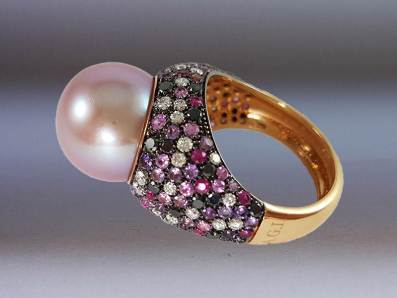 anello perla rosa