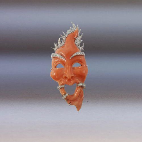 Ciondolo Maschera Corallo