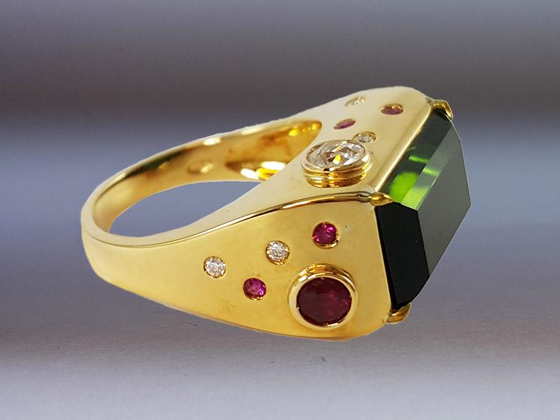anello tormalina verde