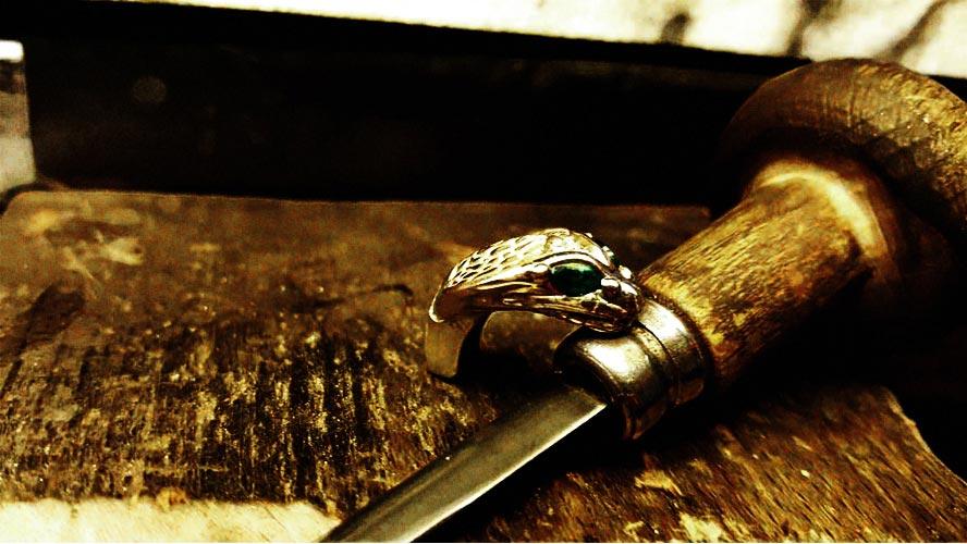 anello artigianale serpente